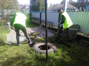 Начало монтажа ТОПАС;раскопка и демонтаж старой выгребной ямы из автопокрышек