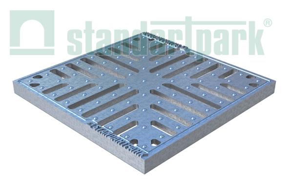 Решетка чугунная Basic (снежинка, оцинкованная) к дождеприемнику 300x300
