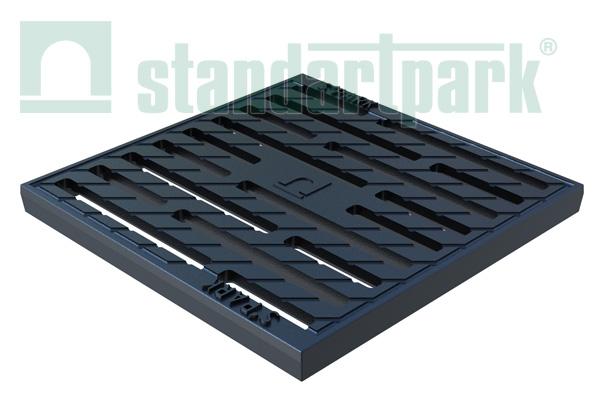 Решетка чугунная Basic (щелевая) к дождеприемнику 300x300