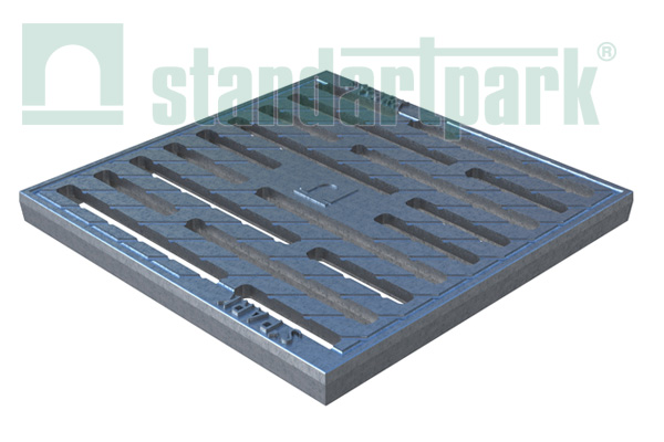 Решетка чугунная Basic (щелевая оцинкованная) к дождеприемнику 300x300